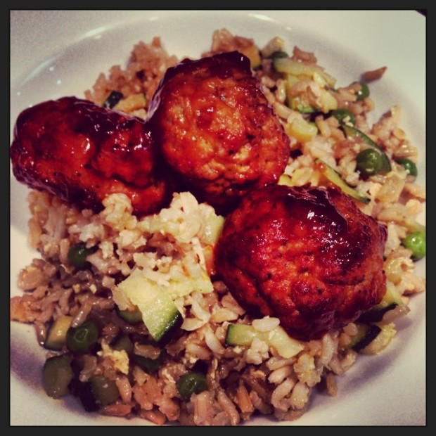 aisan turkey meatballs with fried rice