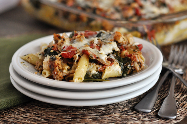 pesto and sausage baked ziti